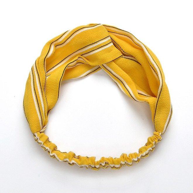 Haarband Print | Streep Geel | Elastische Bandana
