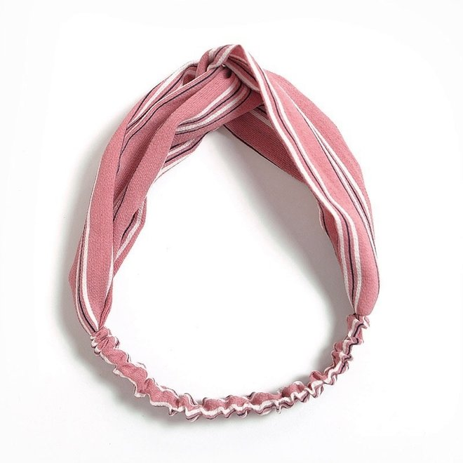 Haarband Print | Streep Blush Pink | Elastische Bandana