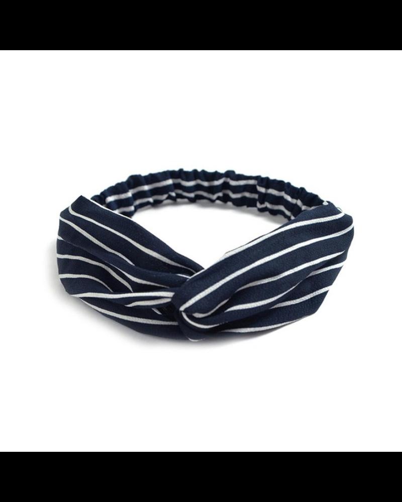 Fashion Favorite Haarband Print | Streep Blauw - Wit | Elastische Bandana