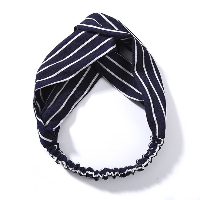 Haarband Print | Streep Blauw - Wit | Elastische Bandana