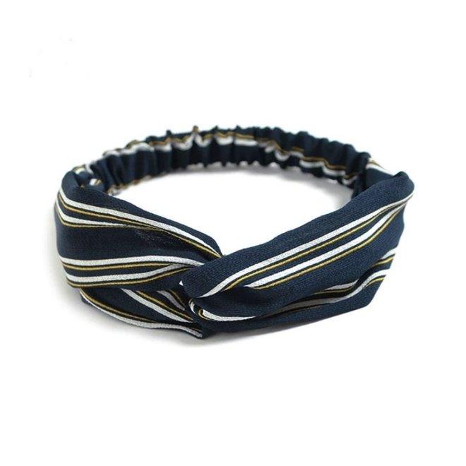 Haarband Print | Streep Blauw - Geel - Wit | Elastische Bandana