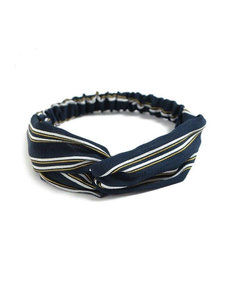 Fashion Favorite Haarband Print   Streep Blauw - Geel - Wit   Elastische Bandana
