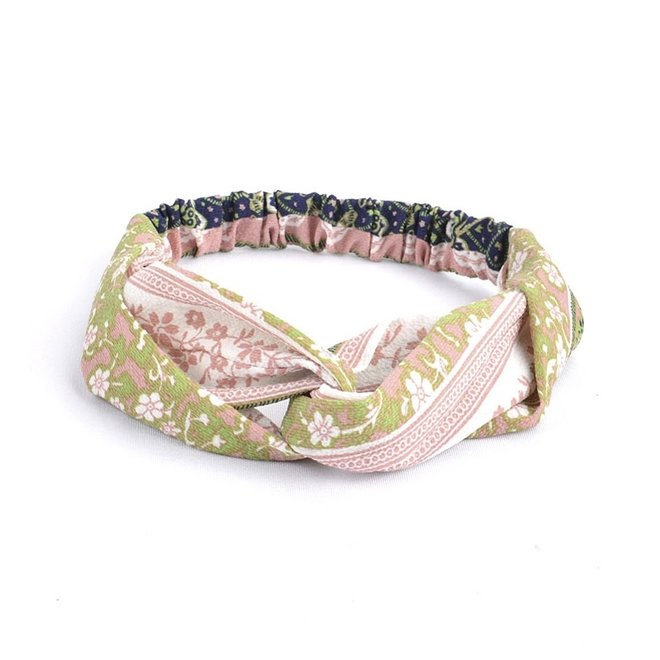 Haarband Print   Bloem Roze - Groen - Blauw