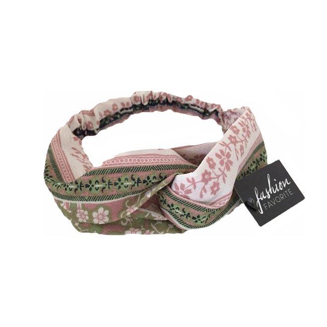 Haarband Print   Bloem Roze - Groen - Blauw   Elastische Bandana