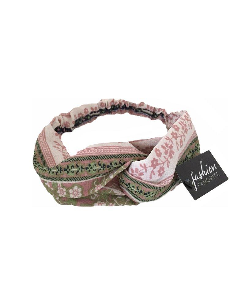Fashion Favorite Haarband Print | Bloem Roze - Groen - Blauw | Elastische Bandana