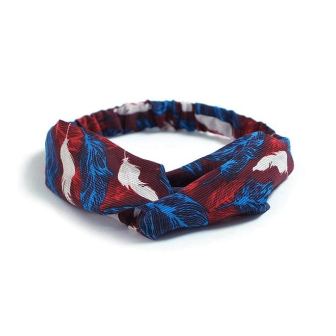 Haarband Print | Bloem Rood - Blauw - Wit | Elastische Bandana