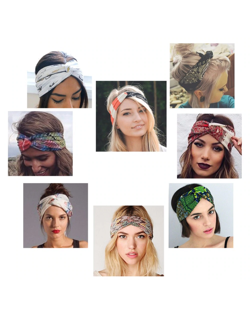 Fashion Favorite Haarband Print | Bloem Rood - Blauw - Wit | Elastische Bandana