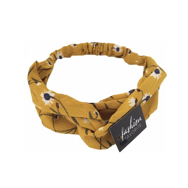Haarband Print | Bloem Okergeel | Elastische Bandana
