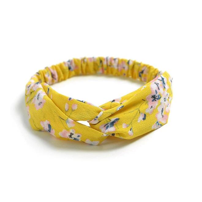 Haarband Print | Bloem Geel - Blauw - Wit | Elastische Bandana