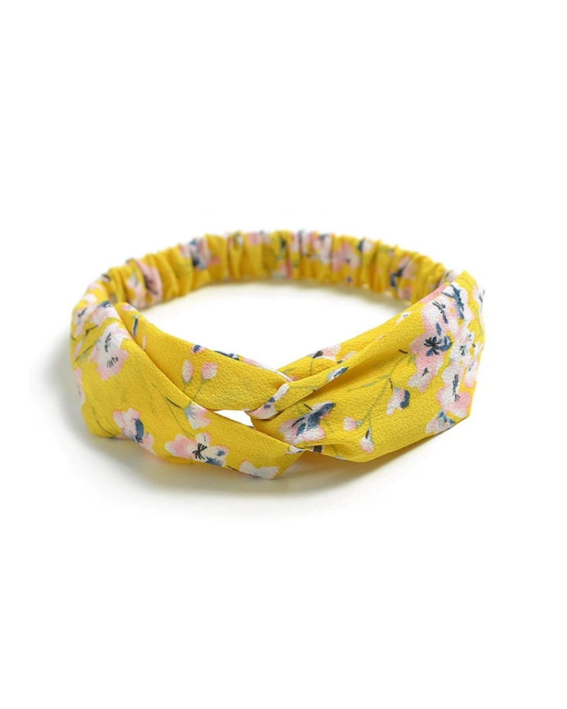 Fashion Favorite Haarband Print | Bloem Geel - Blauw - Wit | Elastische Bandana