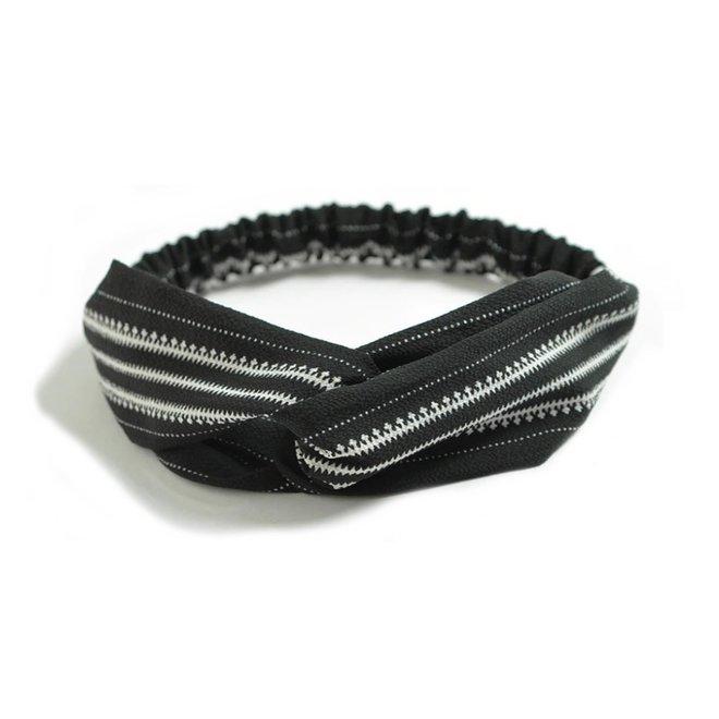 Haarband Print | Aztec Zwart - Wit | Elastische Bandana
