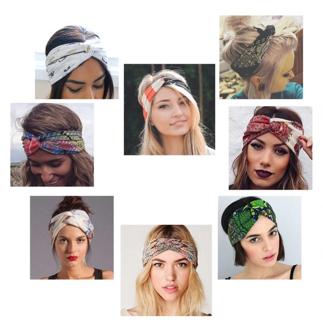 Haarband Print   Aztec Geel - Zwart - Wit   Elastische Bandana