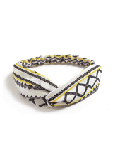 Fashion Favorite Haarband Print | Aztec Geel - Zwart - Wit