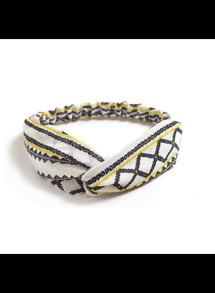 Fashion Favorite Haarband Print   Aztec Geel - Zwart - Wit