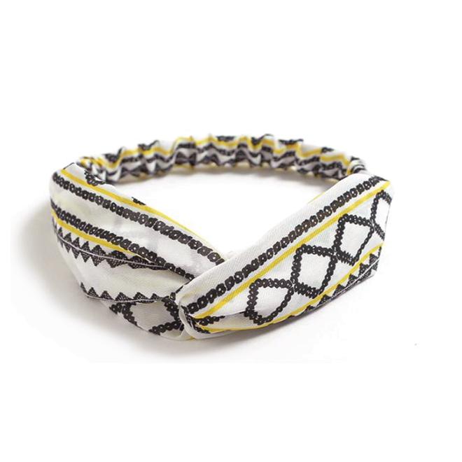 Haarband Print   Aztec Geel - Zwart - Wit