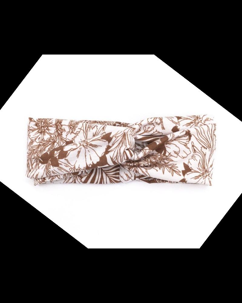 Fashion Favorite Haarband Bloemen Leaf Bruin   Katoen   Bandana