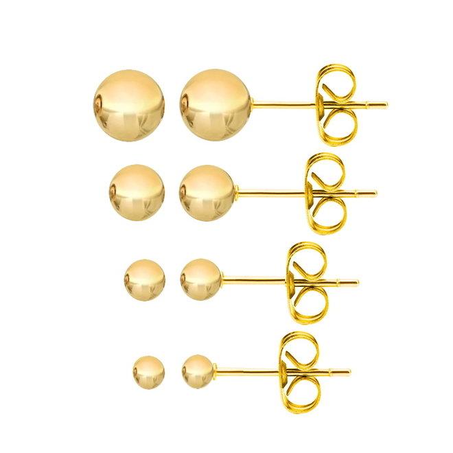 Gouden Stud Balls/Knopjes   Plated   Set van 4 paar
