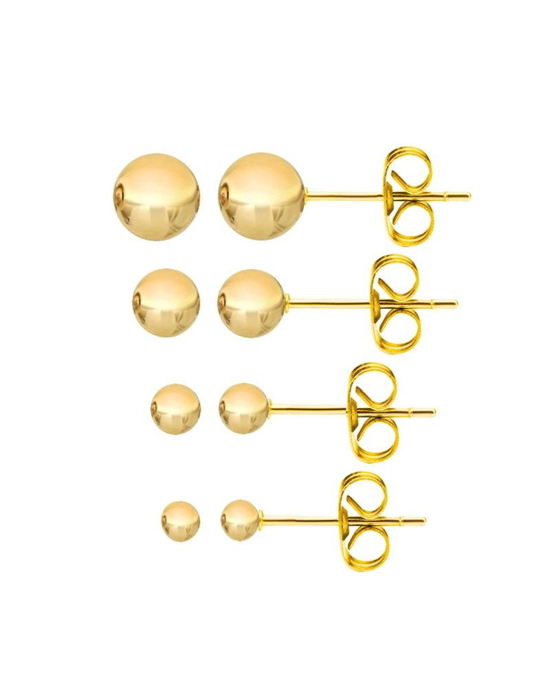 Fashion Favorite Gouden Stud Balls/Knopjes | Plated | Set van 4 paar