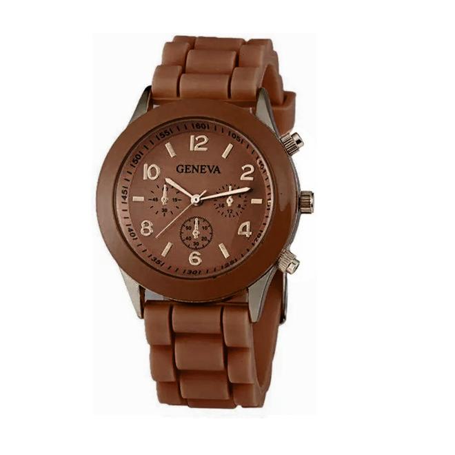 Geneva Siliconen Bruin Horloge