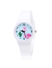 Fashion Favorite Flamingo Kinderhorloge Wit
