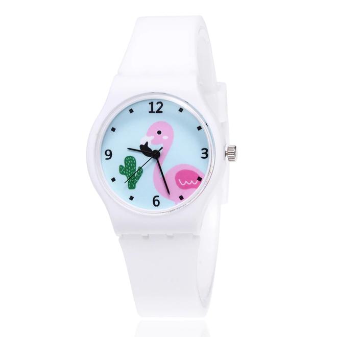 Flamingo Kinderhorloge Wit | Kunststof/Plastic