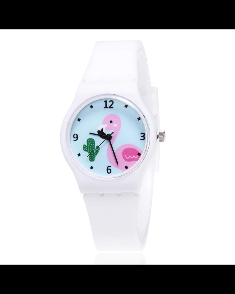 Fashion Favorite Flamingo Kinderhorloge Wit | Kunststof/Plastic
