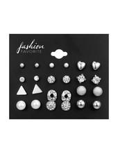 Fashion Favorite Stud Oorbellen | Zilverkleurig | Set 12 Paar