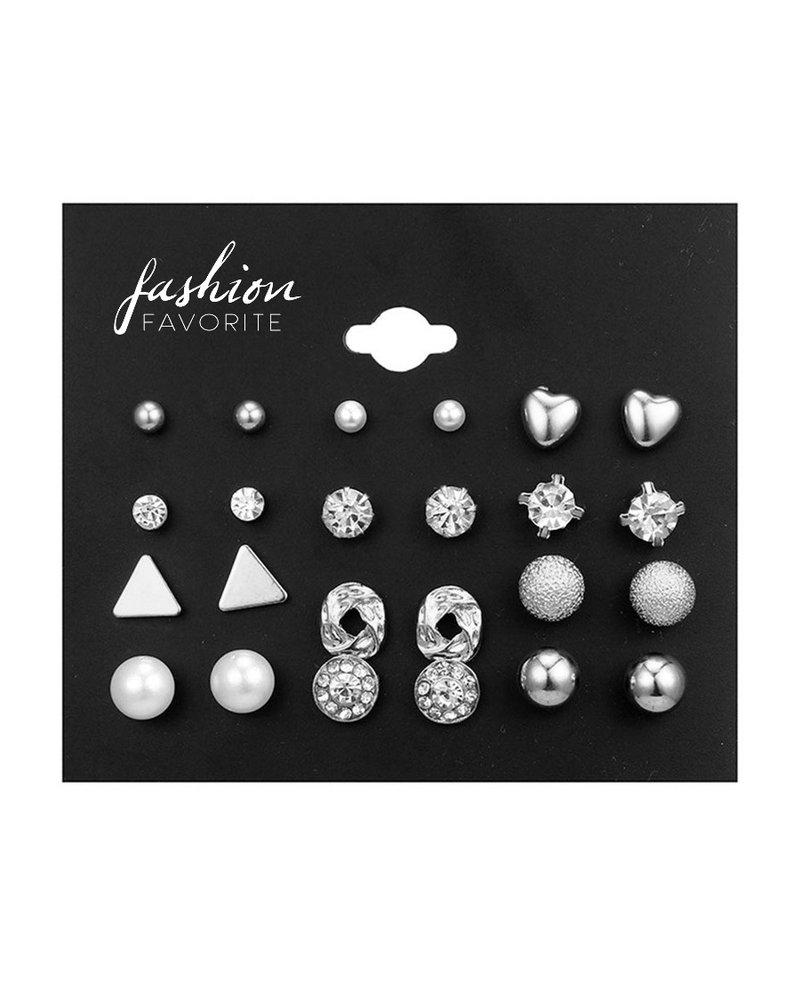 Fashion Favorite Stud Oorbellen | Zilverkleurig | Bijoux | Set 12 Paar