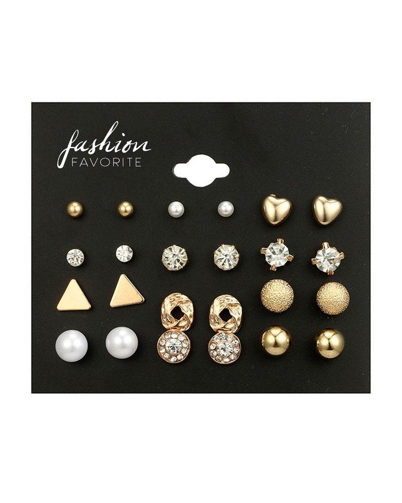 Fashion Favorite Stud Oorbellen | Goudkleurig | Bijoux | Set 12 Paar