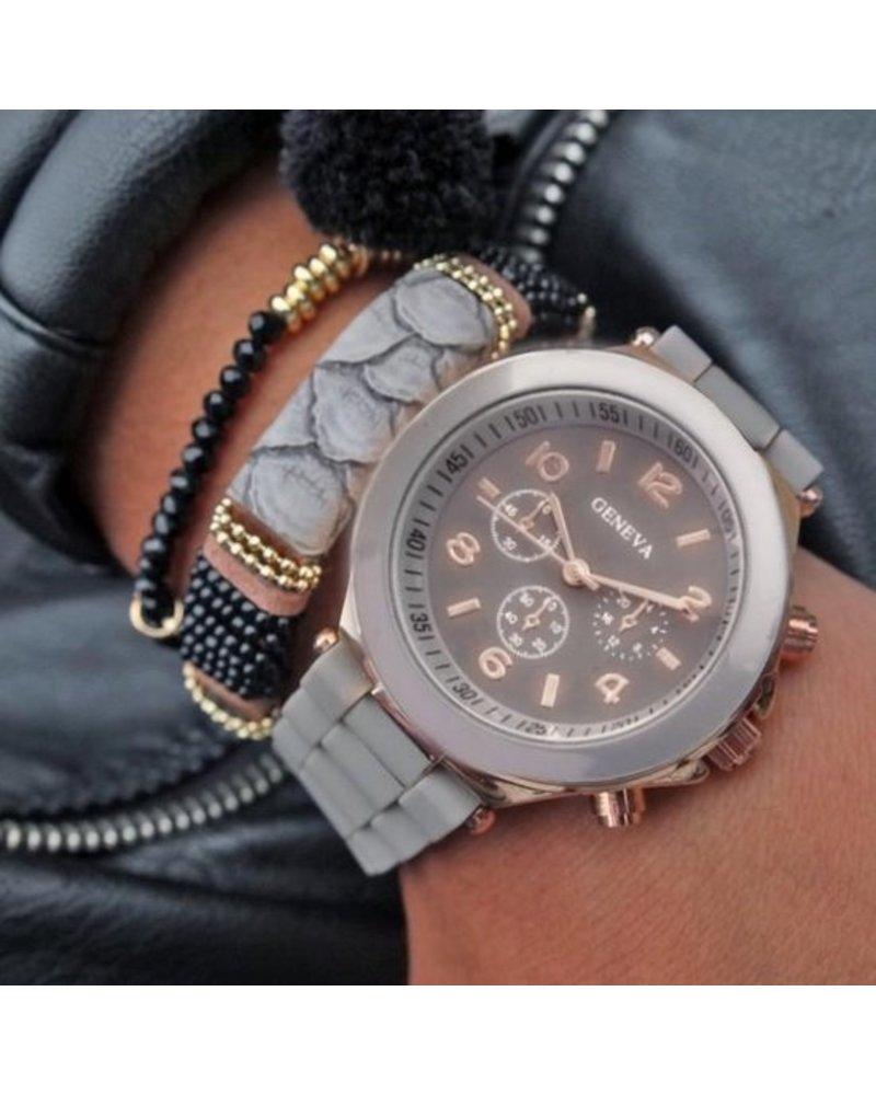Geneva Geneva Siliconen Grijs Horloge