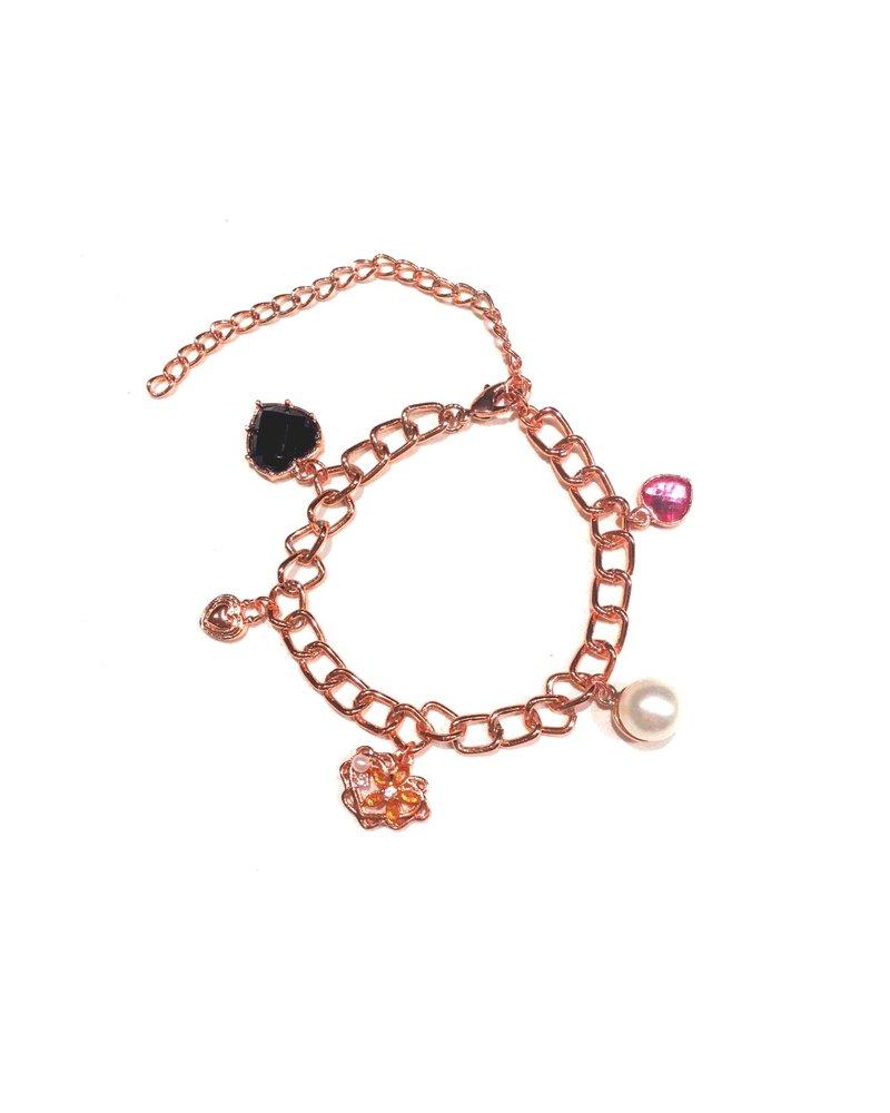 Fashion Favorite Sempre London Armband - Staal Rosékleurig PVD - 5 Bedels - Schakelarmband