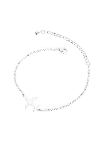 Fashion Favorite Vliegtuig Armband - Zilverkleurig