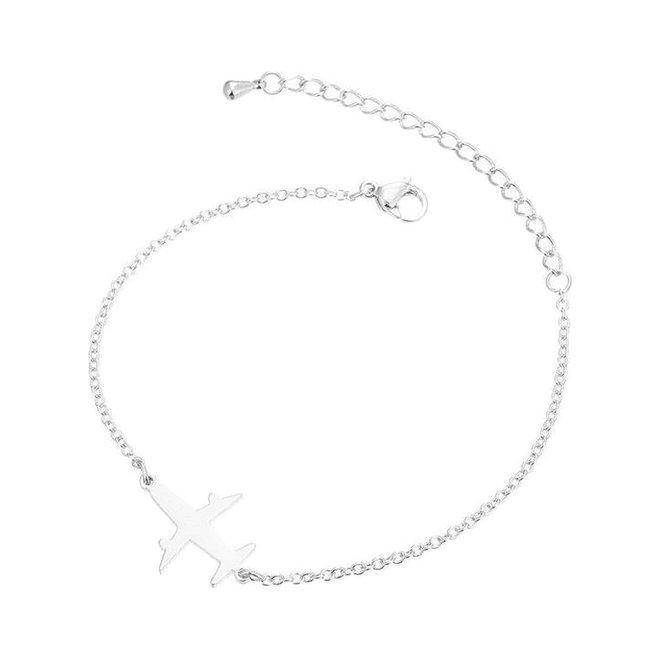 Fashion Favorite Vliegtuig Armband   Zilverkleurig   16 + 5 cm