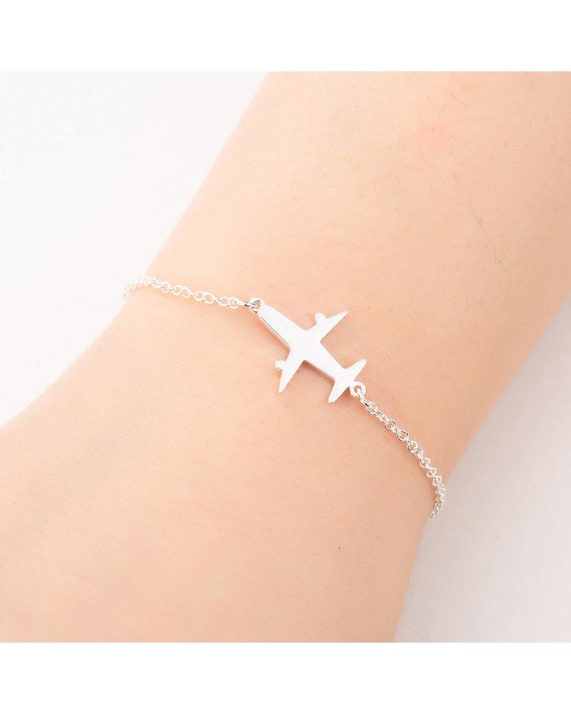 Fashion Favorite Fashion Favorite Vliegtuig Armband   Zilverkleurig   16 + 5 cm