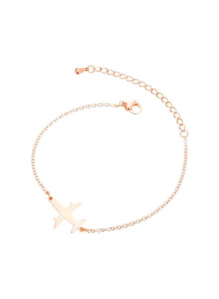 Fashion Favorite Vliegtuig Armband - Rosékleurig