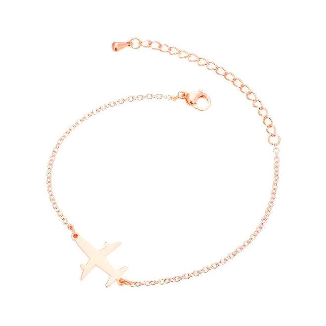 Fashion Favorite Vliegtuig Armband | Rosékleurig | 16 + 5 cm