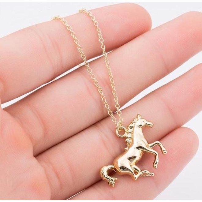 Fashion Favorite Paard Ketting | Goudkleurig | 45 + 5 cm