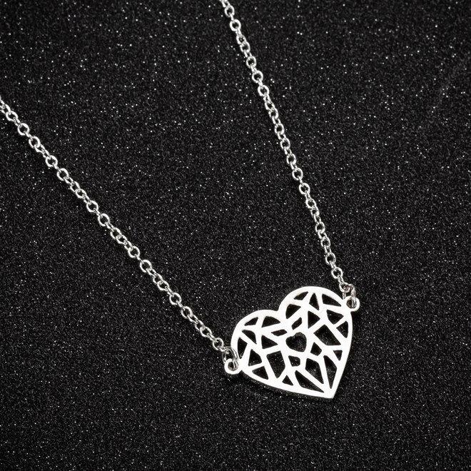 Fashion Favorite Hart Ketting | Zilverkleurig | 45 + 5 cm