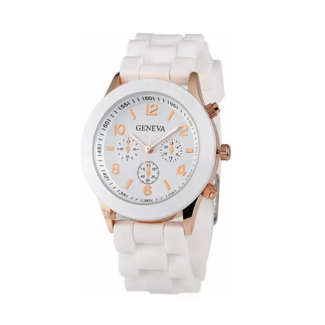 Geneva Siliconen Wit Horloge