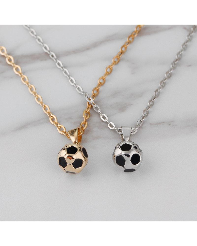 Fashion Favorite Fashion Favorite Ketting met Voetbal Hanger - Zilverkleurig - 45 + 5 cm