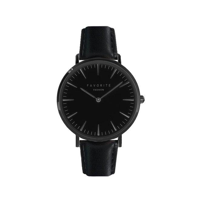 Vitória Full Black Horloge | Zwart | Lederen band | Luxe Giftset/Cadeauset
