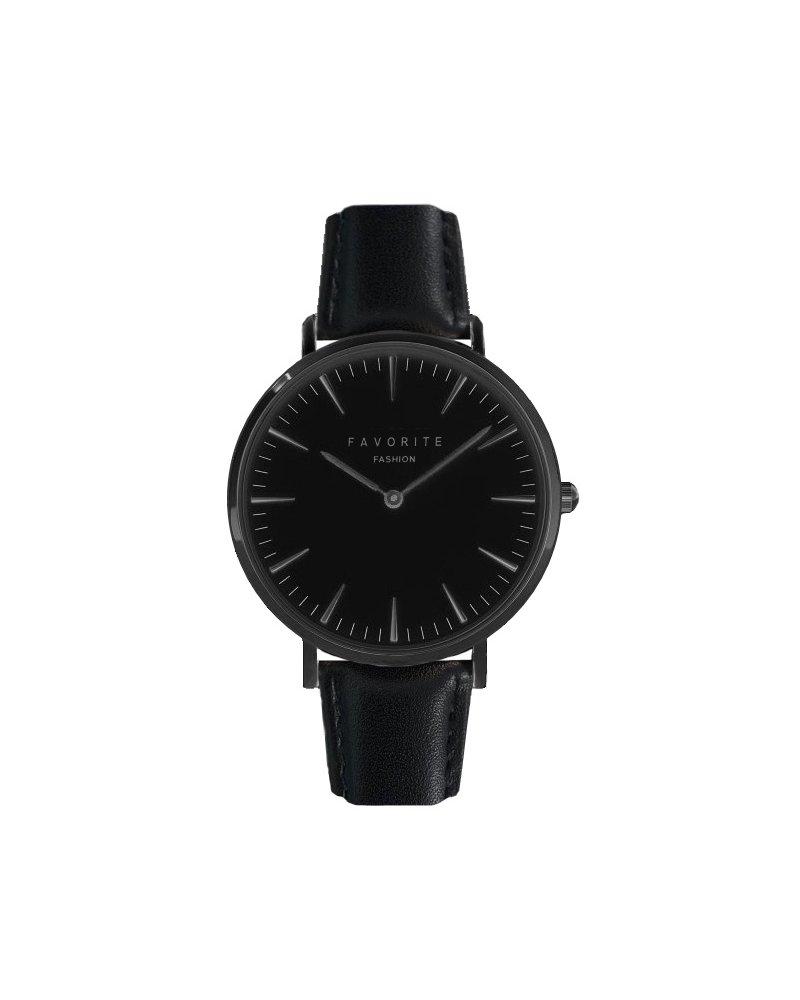 Favorite Fashion Vitória Full Black Horloge | Zwart | Lederen band | Luxe Giftset/Cadeauset
