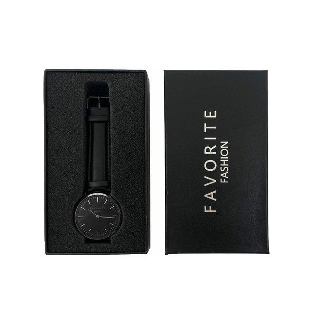 Vitória Black / Silver 2.0 Horloge | Zwart & Zilverkleurig | Lederen band | Luxe Giftset/Cadeauset