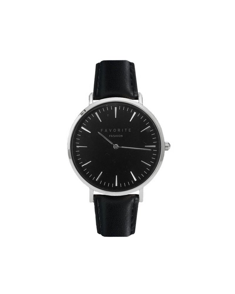 Favorite Fashion Vitória Black / Silver 2.0 Horloge   Zwart & Zilverkleurig   Lederen band   Luxe Giftset/Cadeauset