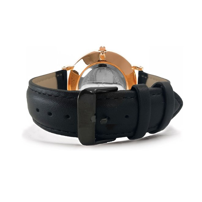 Vitória Black / Rosé 2.0 Horloge | Zwart & Rosékleurig | Lederen band | Luxe Giftset/Cadeauset