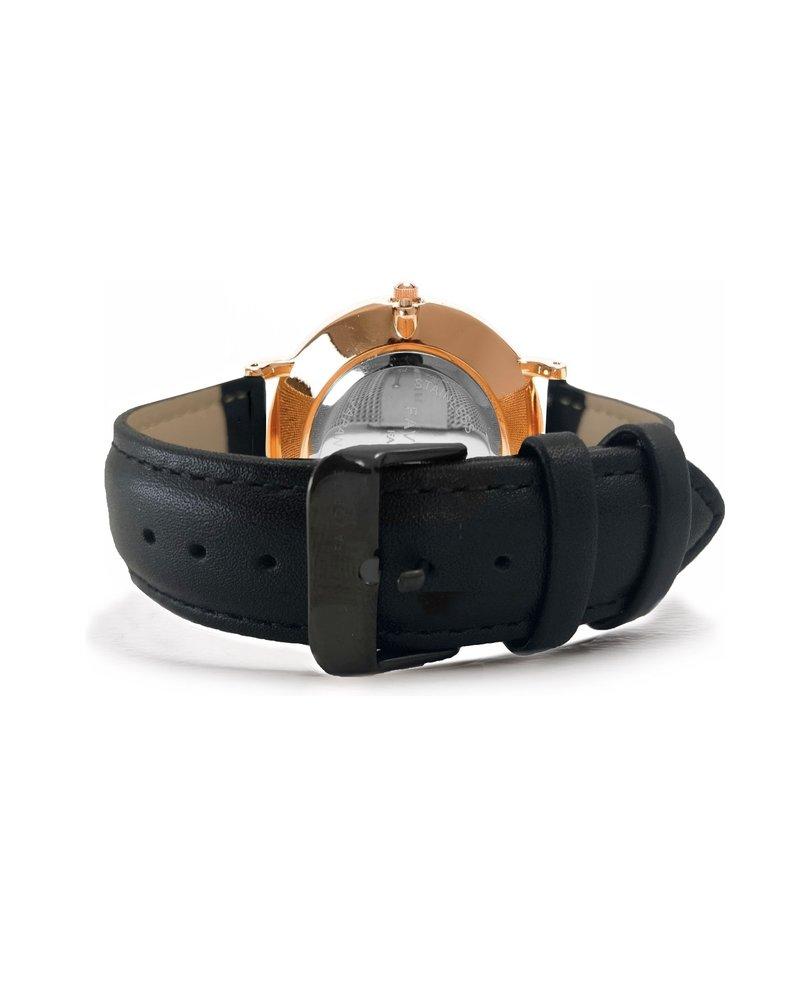 Favorite Fashion Vitória Black / Rosé 2.0 Horloge | Zwart & Rosékleurig | Lederen band | Luxe Giftset/Cadeauset