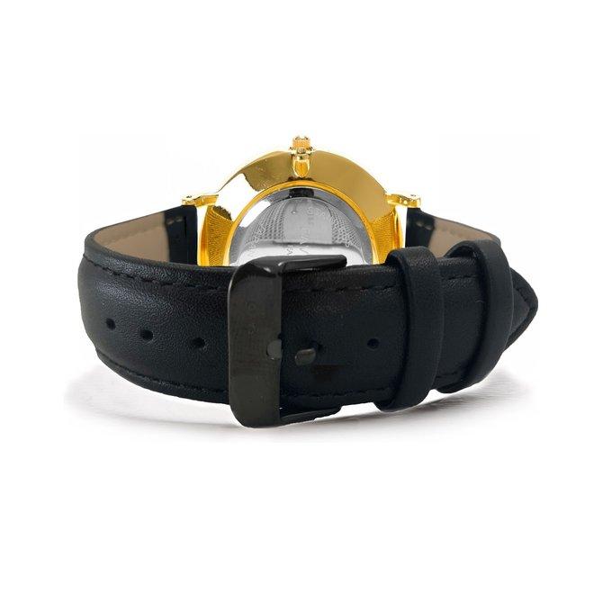 Vitória Black / Gold 2.0 Horloge | Zwart & Goudkleurig | Lederen band | Luxe Giftset/Cadeauset