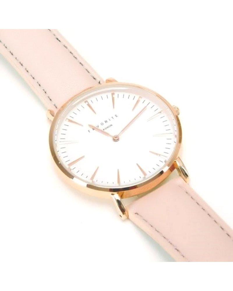 Favorite Fashion Vitória Gold Pink 2.0 Horloge | Rosekleurig & Nude/Roze | Lederen band | Luxe Giftset/Cadeauset