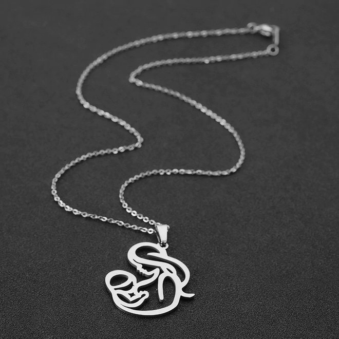 Fashion Favorite Moeder / Baby Ketting | Zilverkleurig | 45 + 5 cm