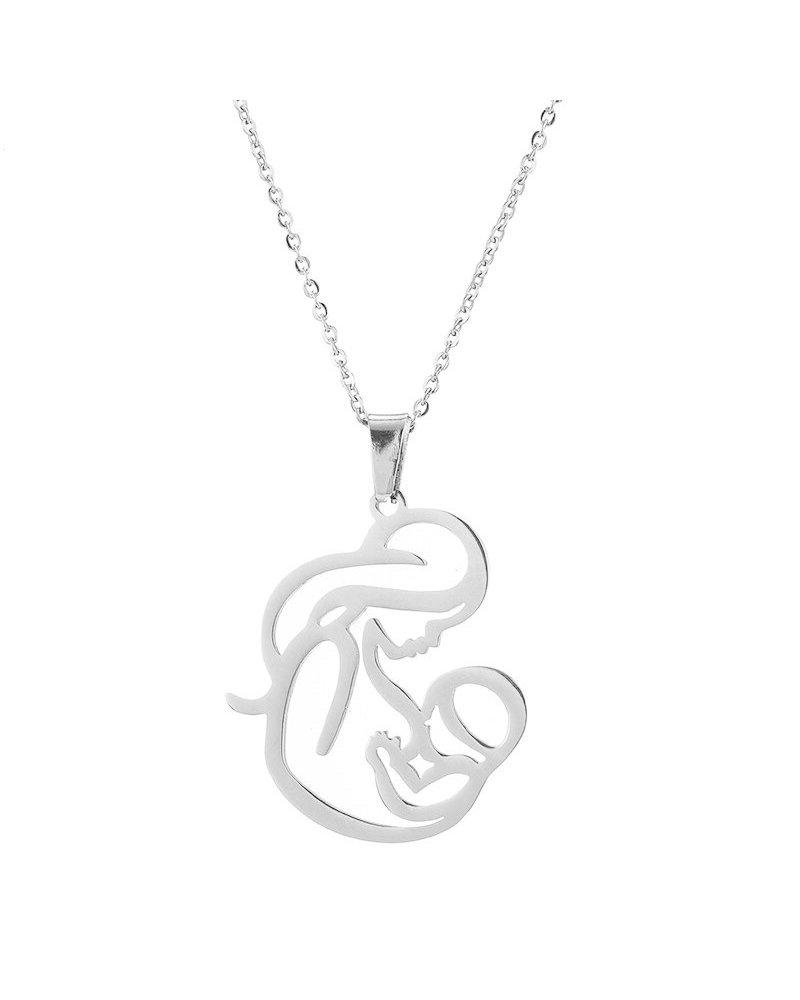 Fashion Favorite Fashion Favorite Moeder / Baby Ketting | Zilverkleurig | 45 + 5 cm